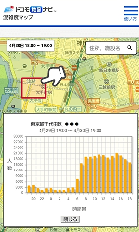 ドコモ地図ナビ混雑度マップ2