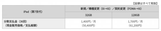 iPad(第7世代)のドコモオンラインショップ販売価格