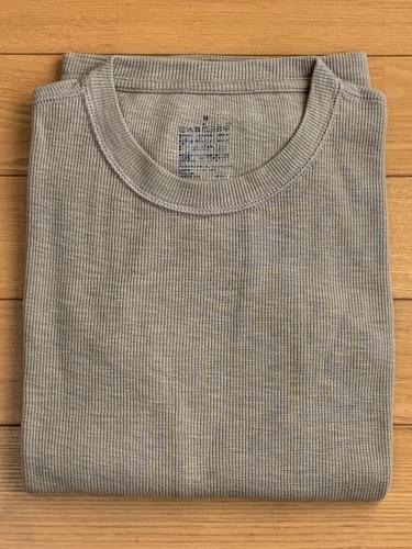 無印良品 ムラ糸ワッフル編み長袖Tシャツ