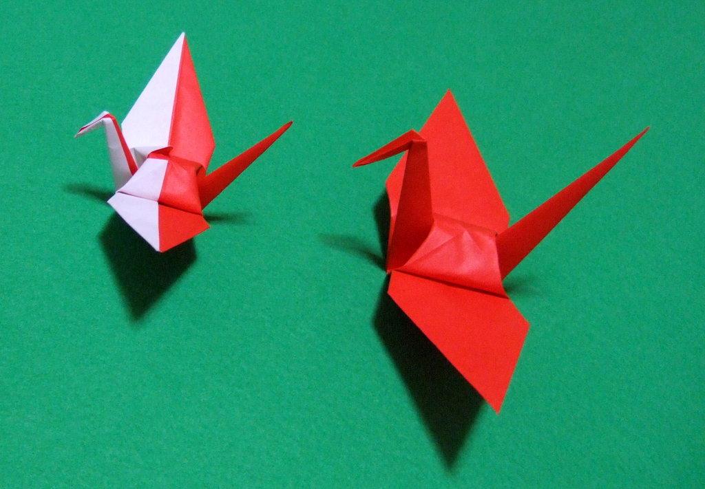 すべての折り紙 鶴 折り紙 : 紅白鶴(折り紙 ...