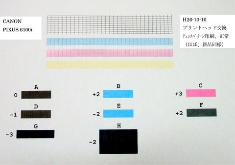 プリントヘッド交換後(6100i)