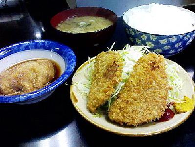 サービス定食(玉子の袋煮とハムカツと焼き肉)