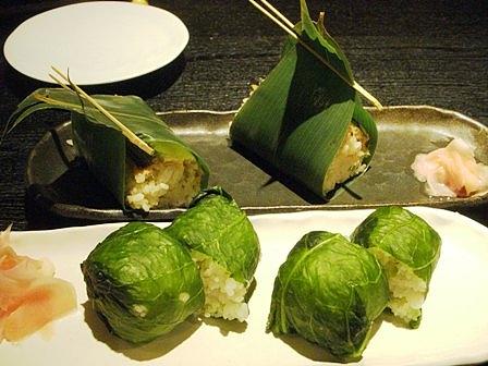 京橋 薬味屋 ひとくち目張り寿司、煮穴子寿司
