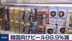 韓国向けビールの輸出額 前年同月比99.9%減