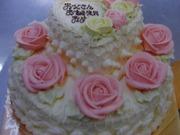 バターケーキ薔薇段デコレーション
