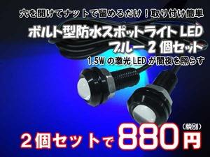 ボルト型LED2個セット青1