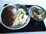 カレーライス+パスタ+サラダ+天かす丼 ¥450