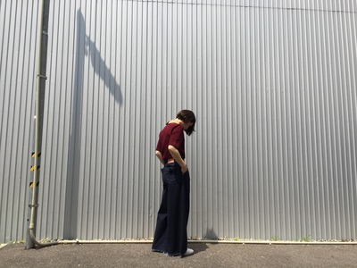 写真 2016muveil -ミュベール- デニムロングガウチョパンツ