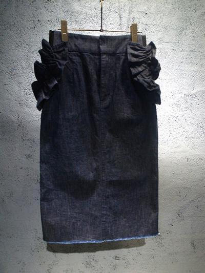 muveil-ミュベール-フリル付きデニムスカート