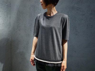 MUVEIL-ミュベール- 裾パールTシャツ