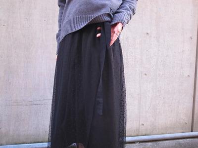 MUVEILミュベール ドット刺繍チュールスカート