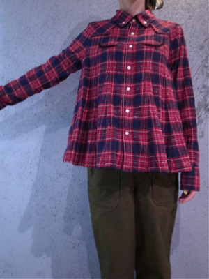 muveilミュベールスマイルポケットチェックシャツ