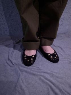 muveilミュベールネコ刺繍シューズ