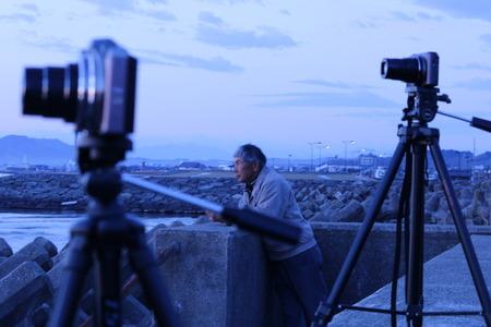 夜明け前の空 赤紫色の空 朝日 氷見市 (6)