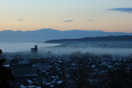氷見市 朝日山公園 展望台 朝日 日の出 雲海 気嵐 霧 (4)