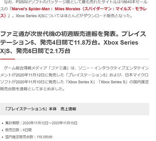 【ガチ悲報】PS5さん、初週11.8万