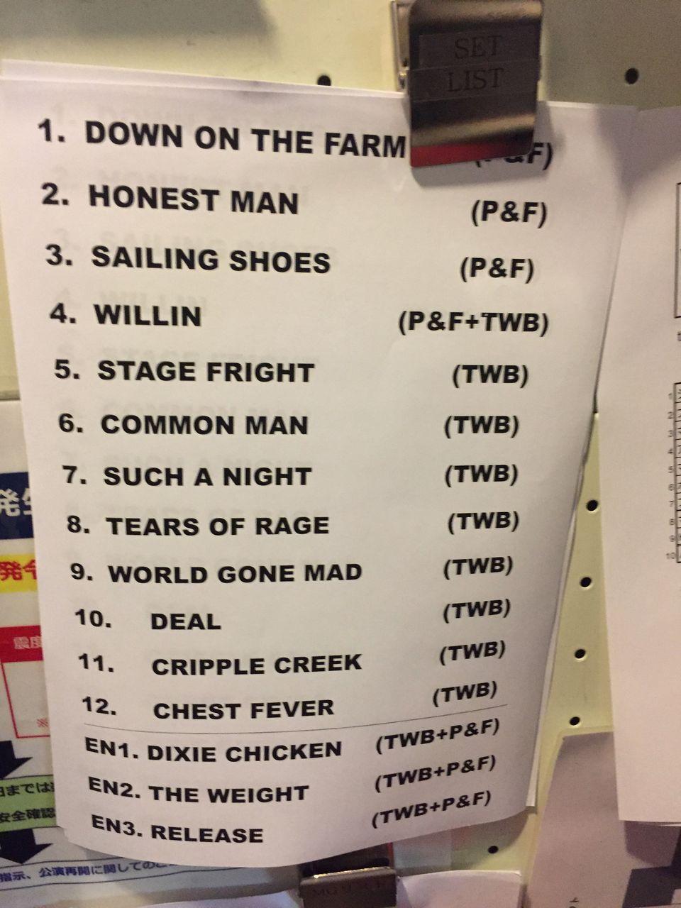 weight band setlist