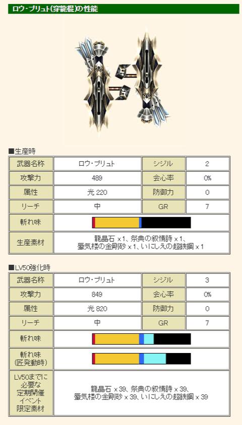 MHF-G公式サイト G級武器「ロウシリーズ」の性能について