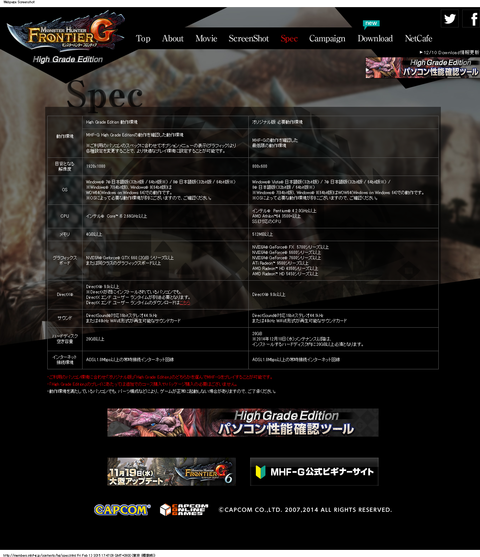 CAPCOM:MHF-G High Grade Edition特設サイト