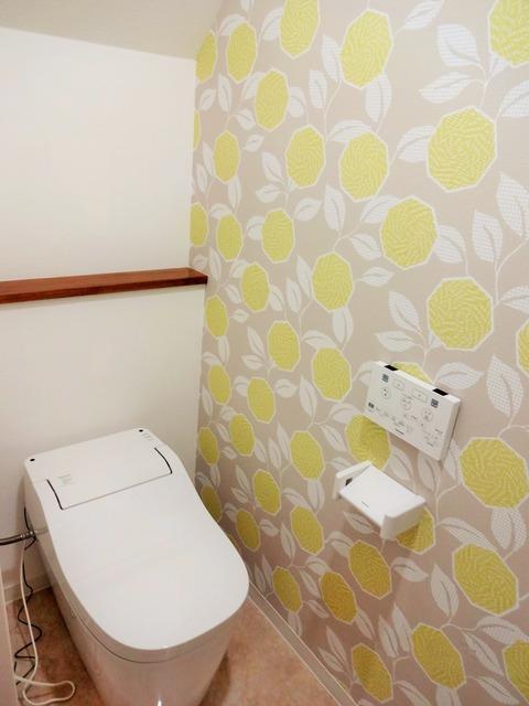 トイレ 花柄 クロス 北欧