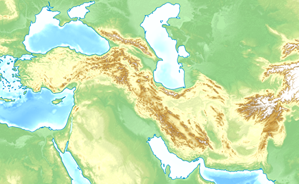 0topogarphycal map of middle east