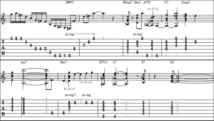 Mikey\'s Guitar Lab: Joe Pass Stardust TAB score part-1