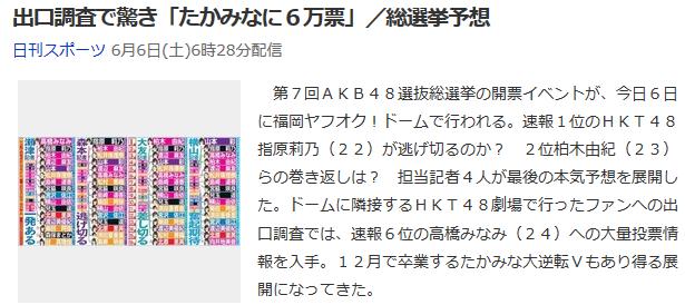 【AKB総選挙】ニッカン瀬津