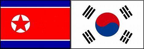 北朝鮮と韓国の国旗