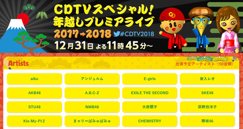 『CDTV年越しライブ2017⇒2018』出演者発表 HKT48とNGT48の名前なしhttps://rosie.2ch.net/test/read.cgi/akb/1514211712/