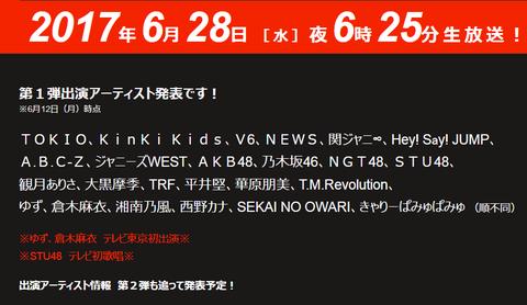 テレ東音楽祭2017にAKB48、乃木坂46、NGT48、STU48出演決定 SKE・NMBの名前なしhttps://shiba.2ch.net/test/read.cgi/akb/1497244346/