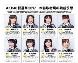 AKB48総選挙公式ガイドブック2017順位予想https://shiba.2ch.net/test/read.cgi/akb/1494965371/