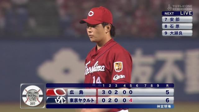 大瀬良、自滅 四球→四球→Fc→暴投→逆転ホームラン