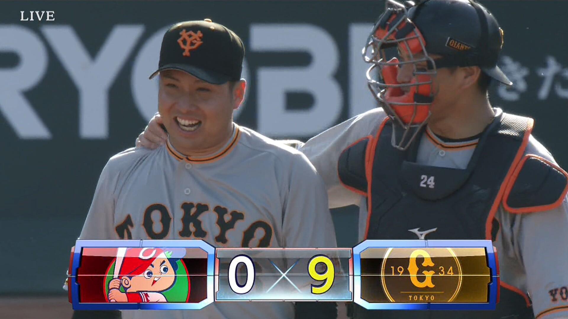巨人・今村、142球完封! 打線は梶谷を除く先発全員安打で快勝