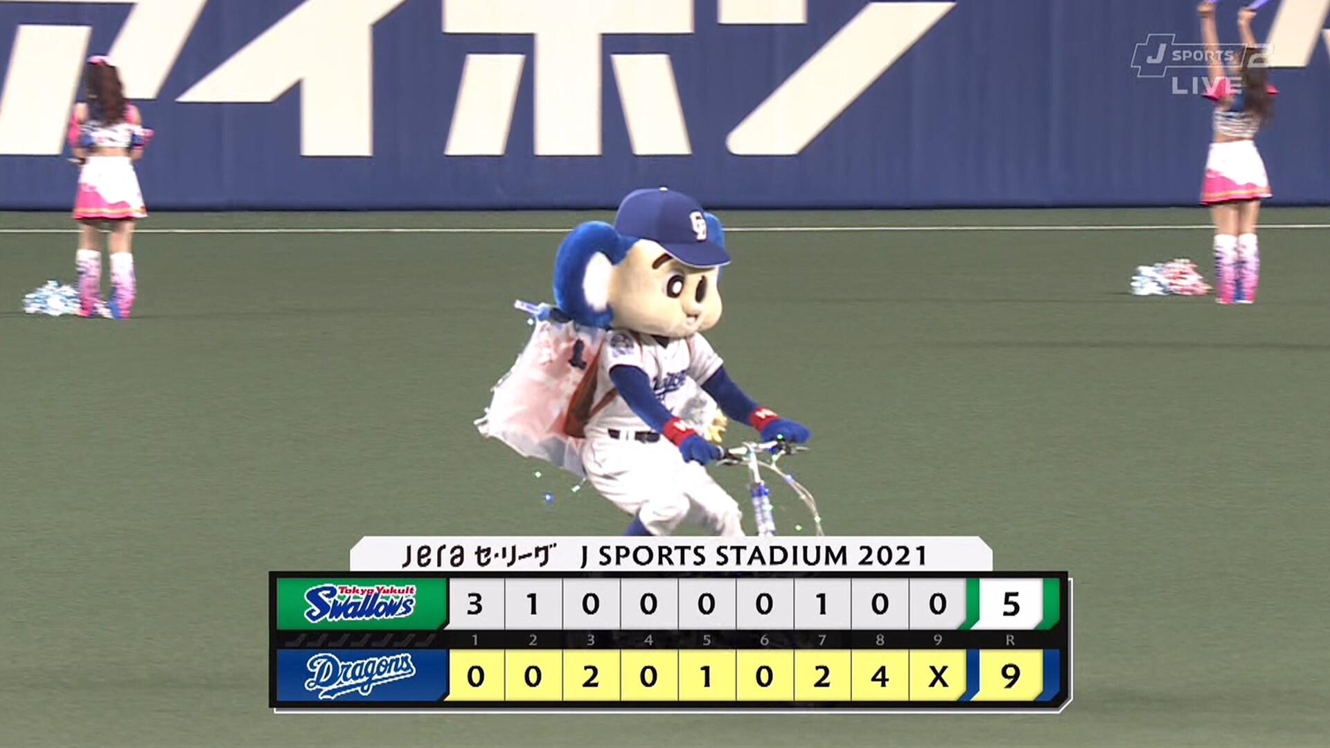 ここ最近の中日ドラゴンズさんの得点 7→4→5→10→5→9