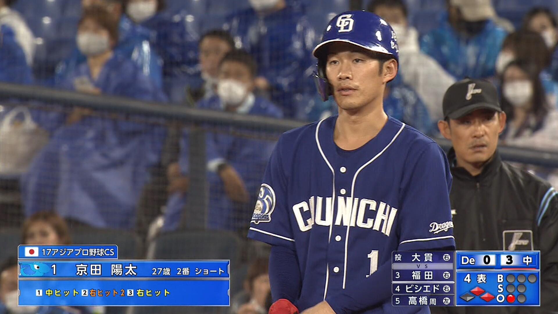 京田、2試合連続猛打賞www 6打席連続ヒットwwwwww