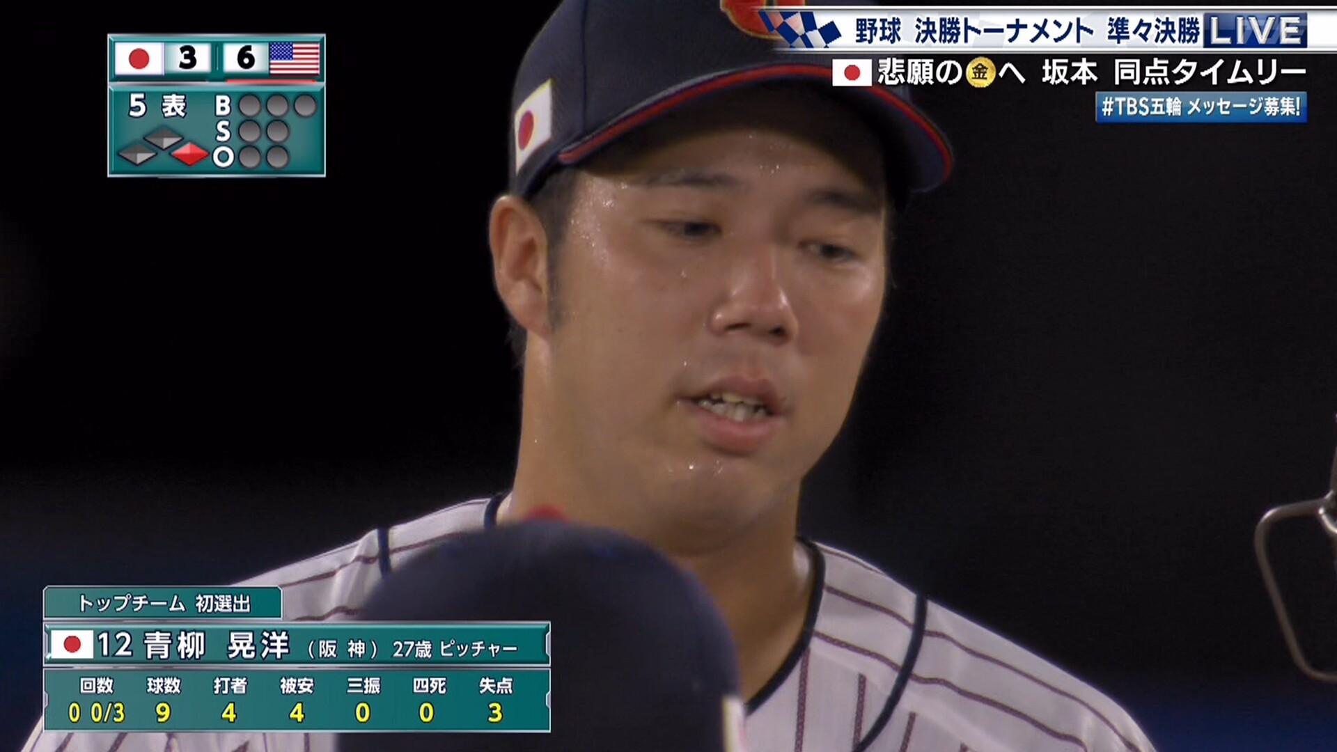 【侍ジャパン】 青柳、リベンジ失敗 また左打者に打ち込まれる