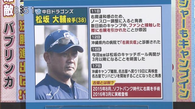 張本氏、松坂の右肩負傷は「もともと悪かったんじゃないの?引っ張られたぐらいでは悪くならないですよ。また、なるようじゃダメでしょう」