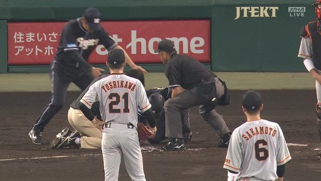 巨人・吉川光夫が危険球退場 鳥谷の顔面に死球