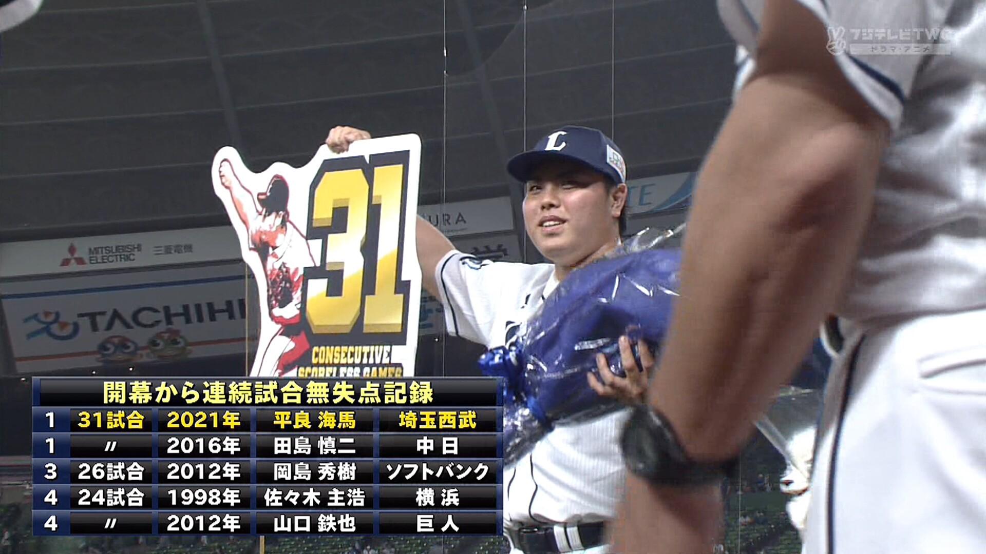 西武・平良、プロ野球タイ記録の開幕から31試合連続無失点