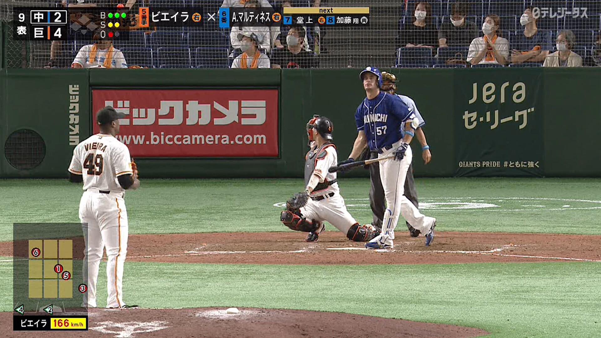 巨人・ビエイラ、166キロ!! 日本球界最速を更新