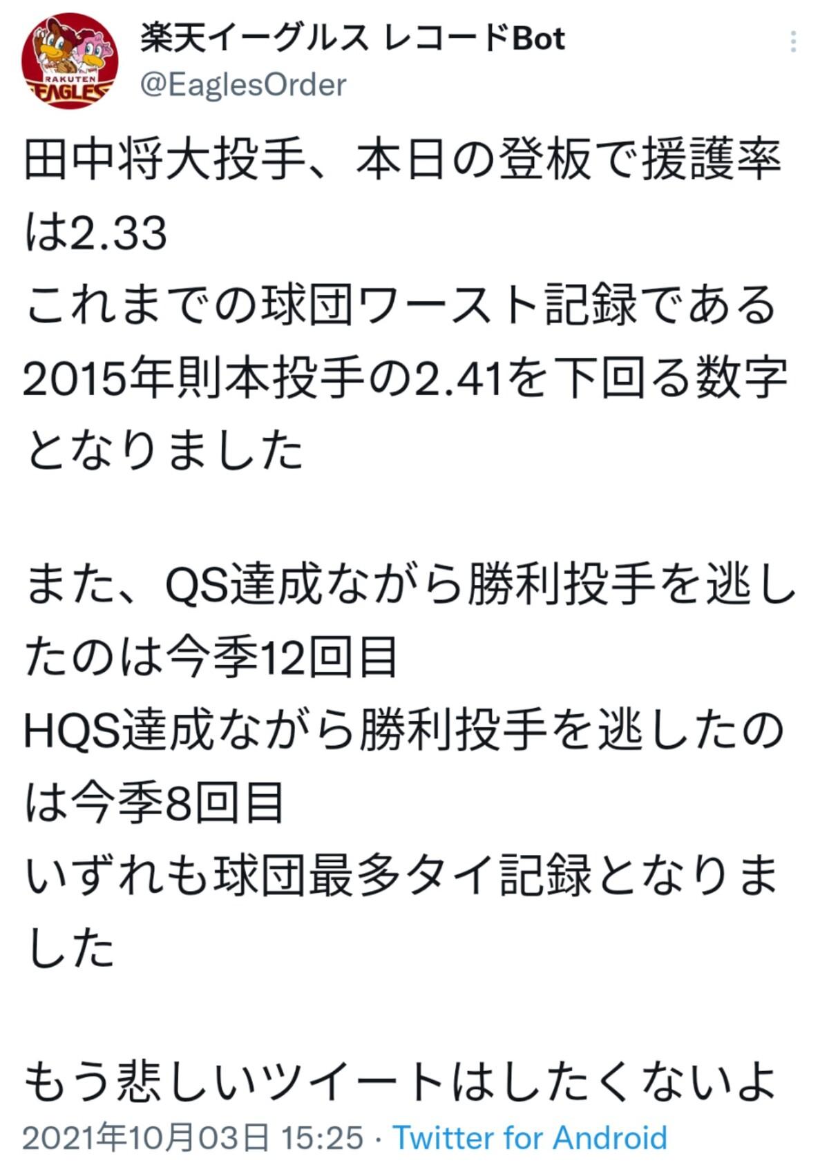 【悲報】 田中将大さんの無援護ぶり、ついに球団史に残るレベルにまでなってしまう…