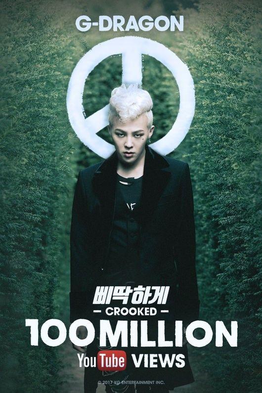 "【BIGBANG NEWS】G-DRAGON、ソロ曲「CROOKED」MVが再生回数1億回を突破…グループ内のソロとしては""史上初"""