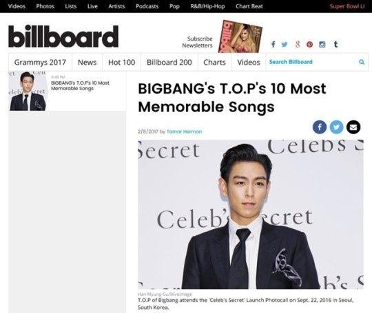 【BIGBANG NEWS】「BIGBANGのT.O.P入隊」米ビルボードが伝える…忘れられない10曲も発表