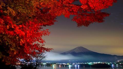 -Fuji-with-fall-foilage-from-Kanagawa-Japan