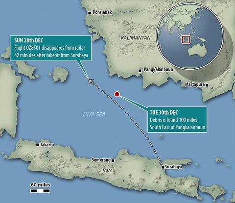 NAVER まとめついに行方不明のエアアジア機と思われる残骸が発見される   カリマンタン島北西の海上