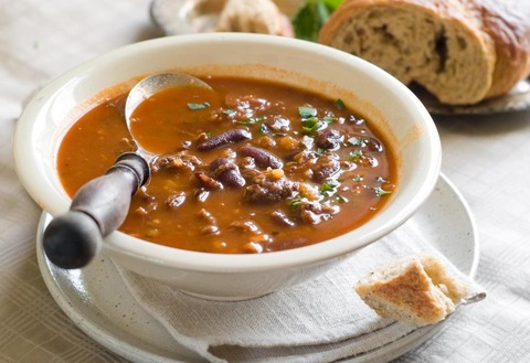 soup-with-beans-in-white-bowl