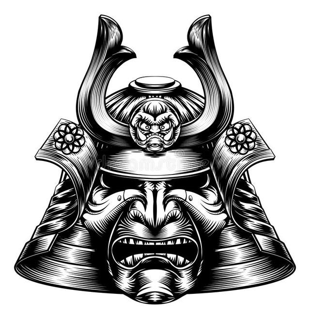 samurai-masken-holzschnitt-art-68611597