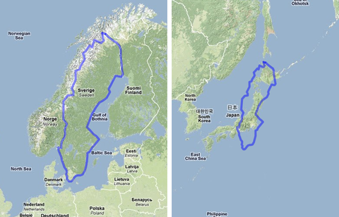 MAPfrappe+Google+Maps+Mashup+-+Sweden+compared+to+Japan