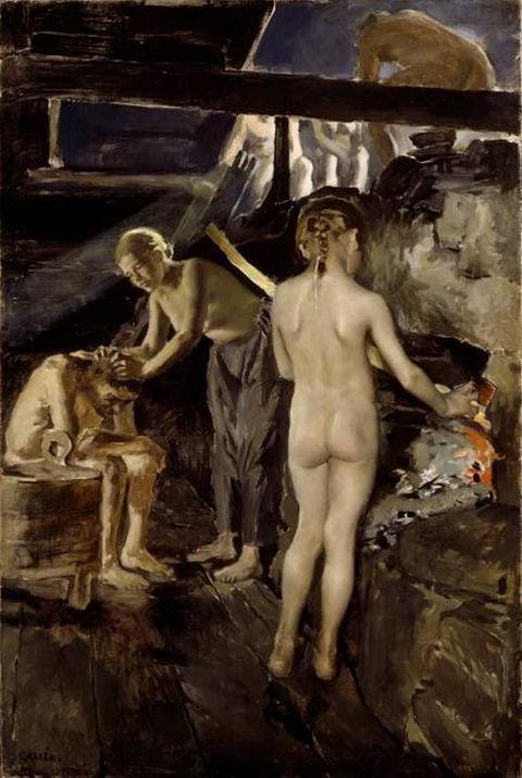 Akseli-Gallen-kallela-In-the-sauna