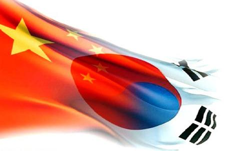Bandeira-mista-de-China-Japao-Coreia-do-Sul-Imagem-MN